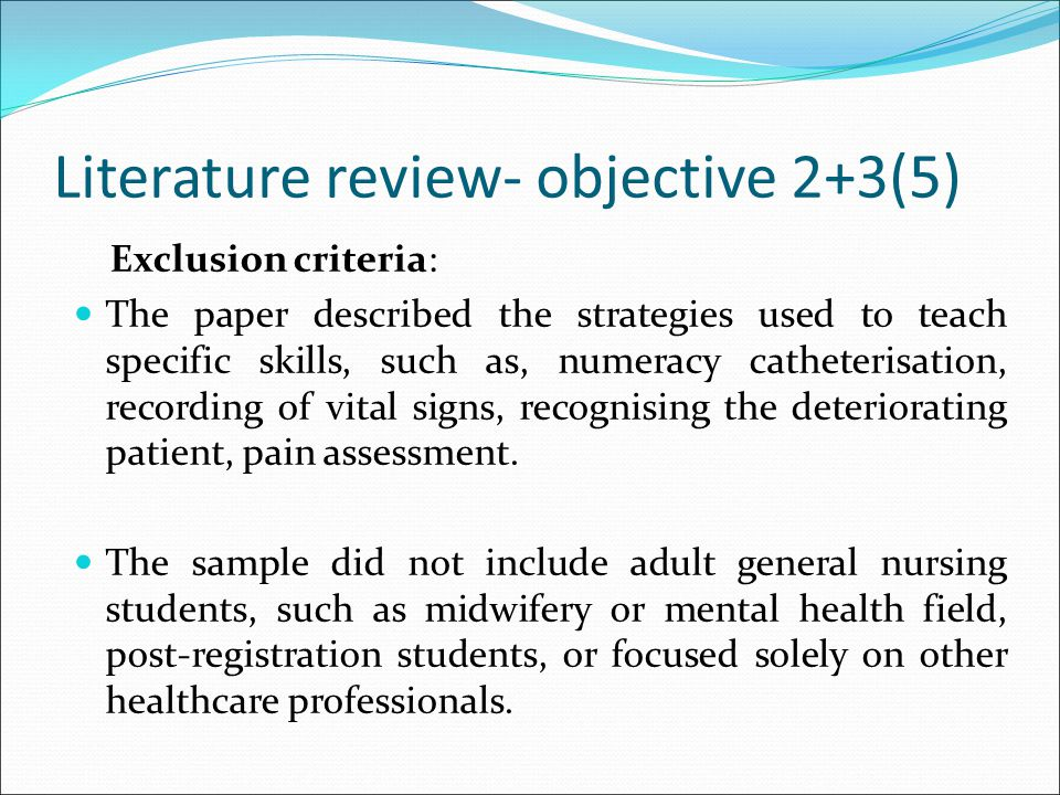Literature review- objective 2+3(5)