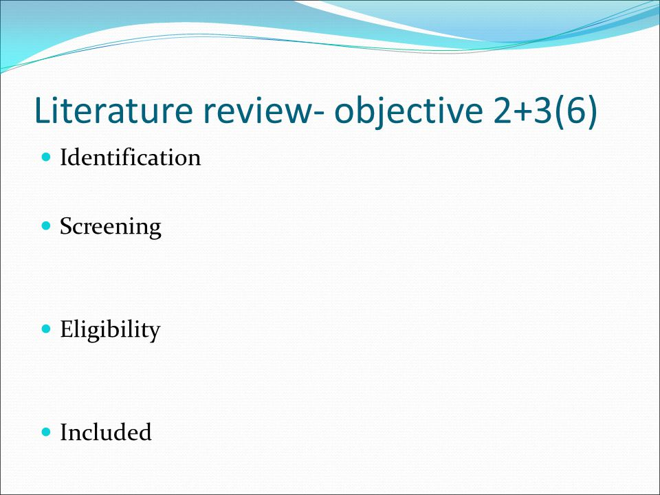Literature review- objective 2+3(6)