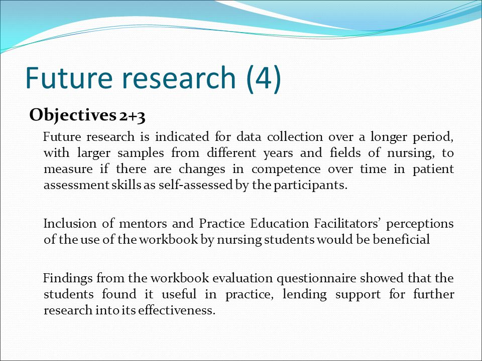 Future research (4) Objectives 2+3