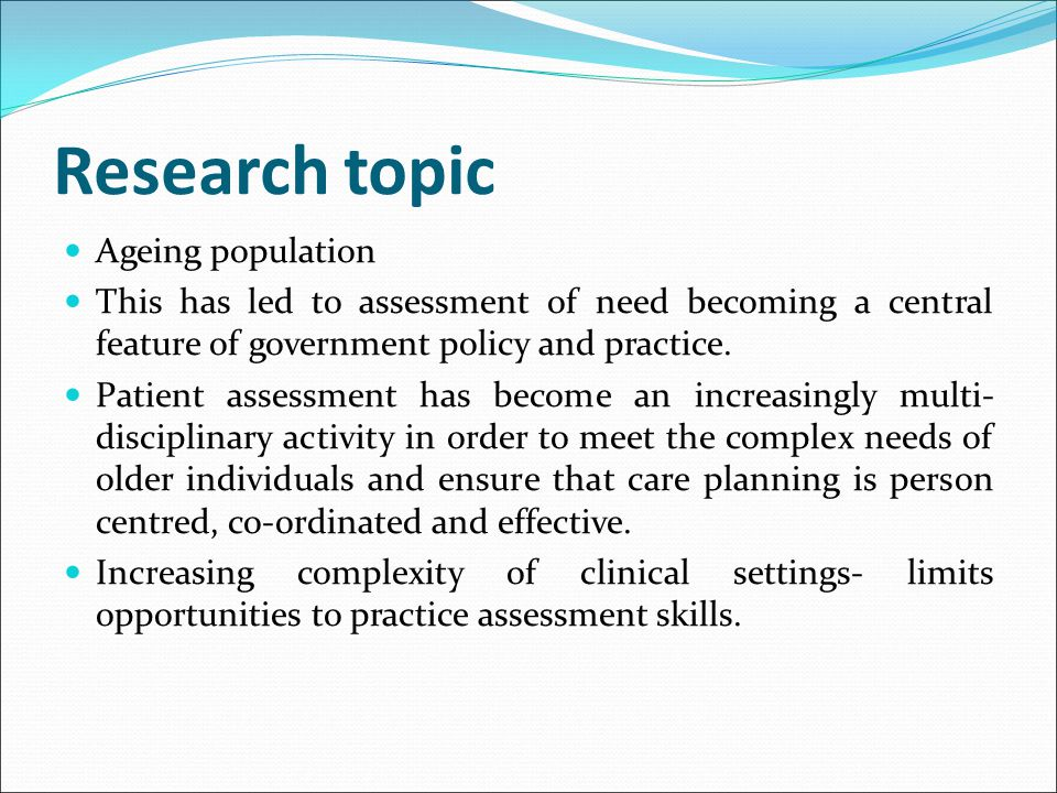 Research topic Ageing population