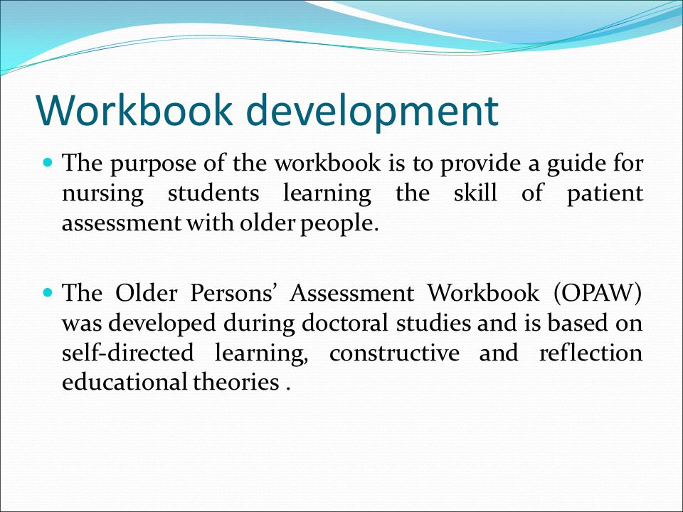 Workbook development