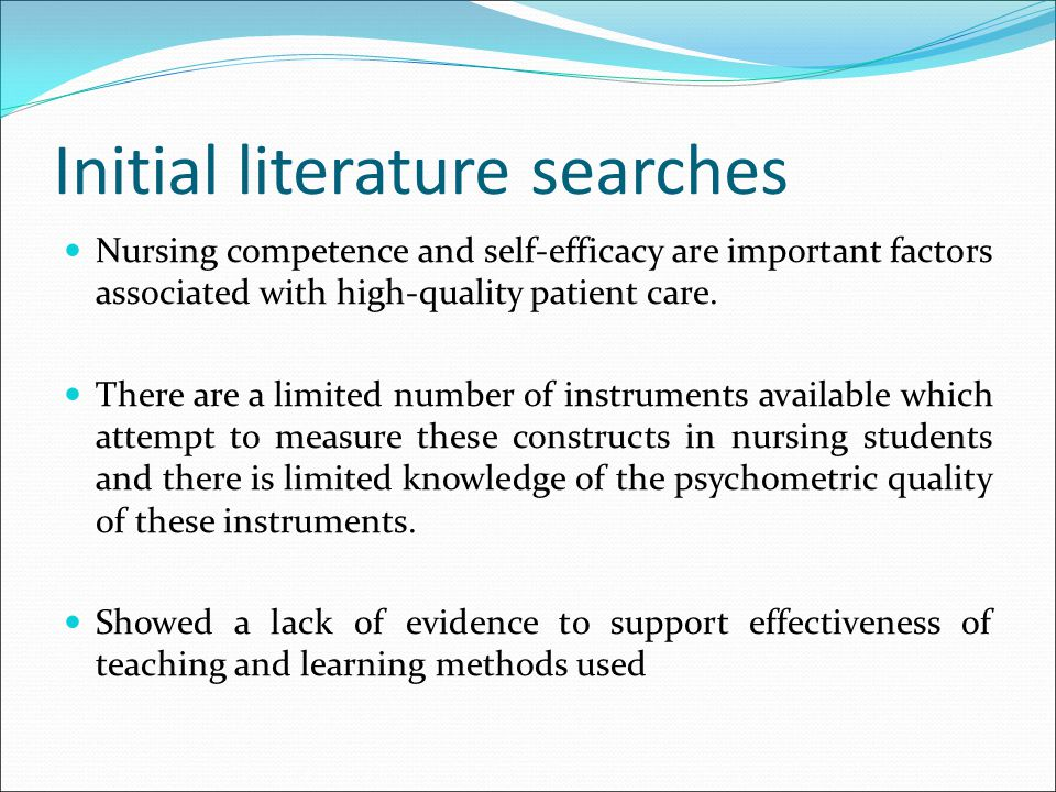Initial literature searches