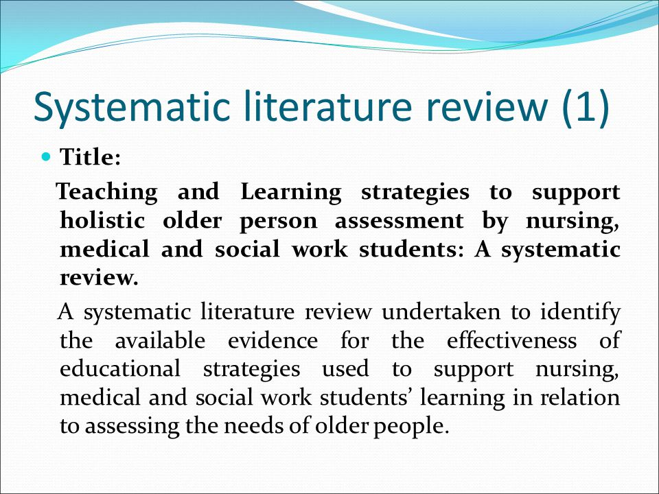 Systematic literature review (1)