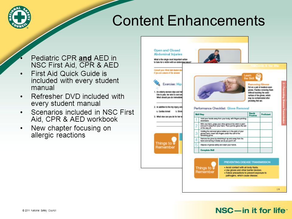 Content Enhancements Pediatric CPR and AED in NSC First Aid, CPR & AED