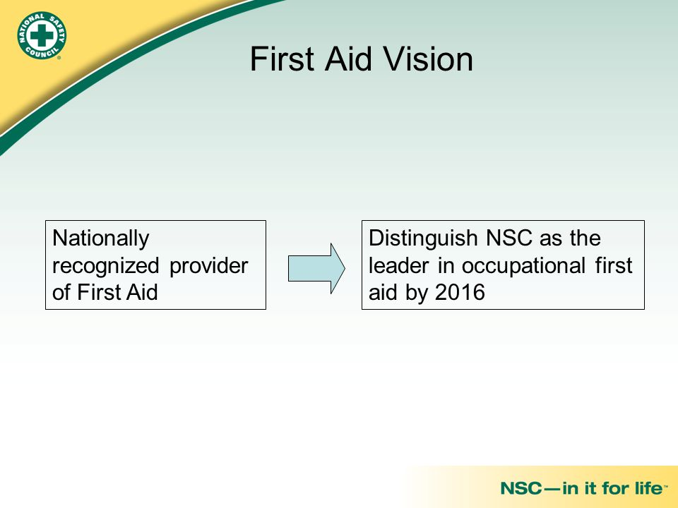 First Aid Vision Nationally recognized provider of First Aid
