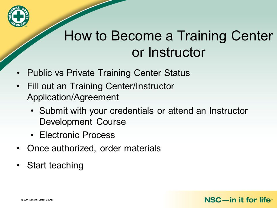 How to Become a Training Center or Instructor
