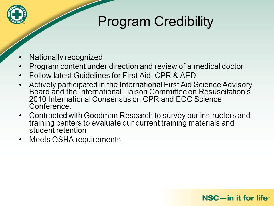 Program Credibility Nationally recognized