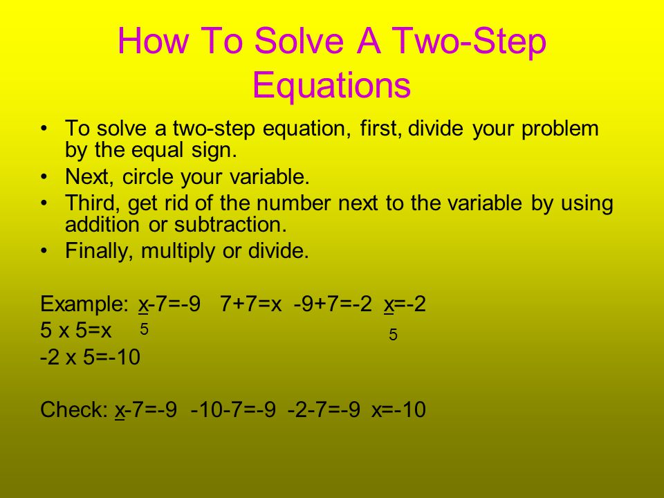 How To Solve A Two-Step Equations