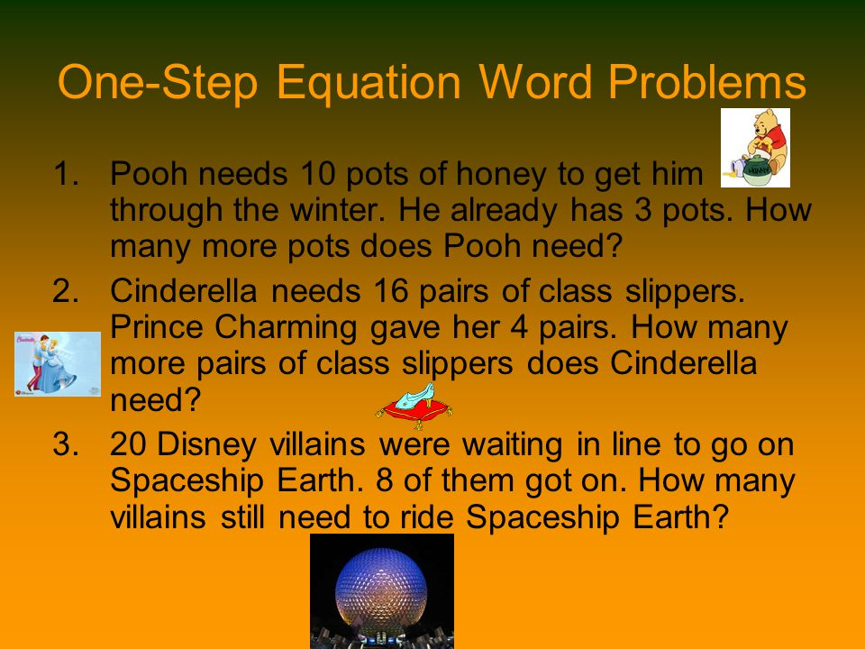 One-Step Equation Word Problems