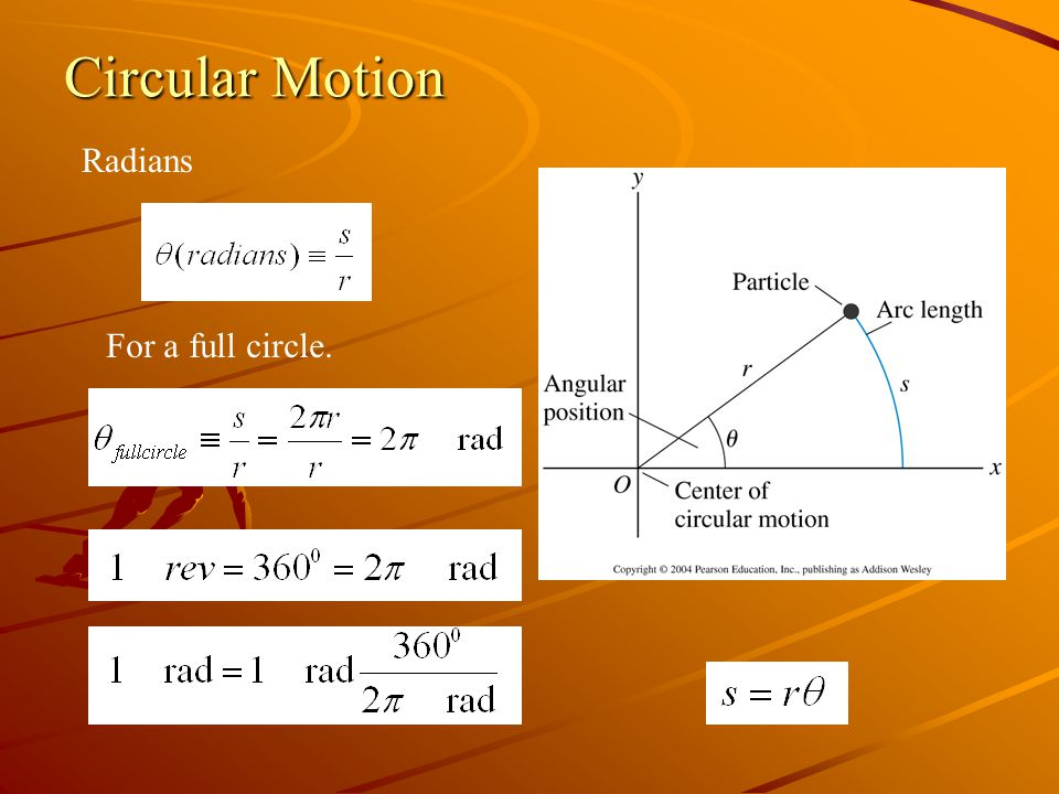 Circular Motion Radians For a full circle.