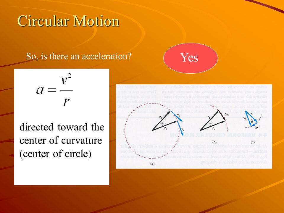 Circular Motion Yes. So, is there an acceleration.