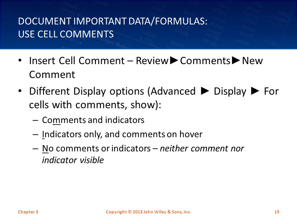 Document Important Data/Formulas: Use Cell Comments