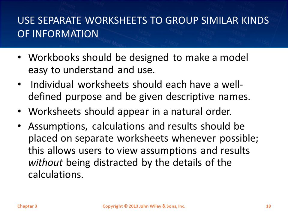 Use Separate Worksheets to Group Similar Kinds of Information