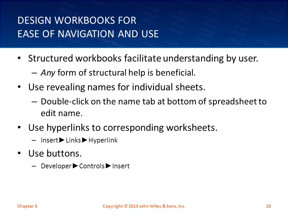Design Workbooks for Ease of Navigation and Use