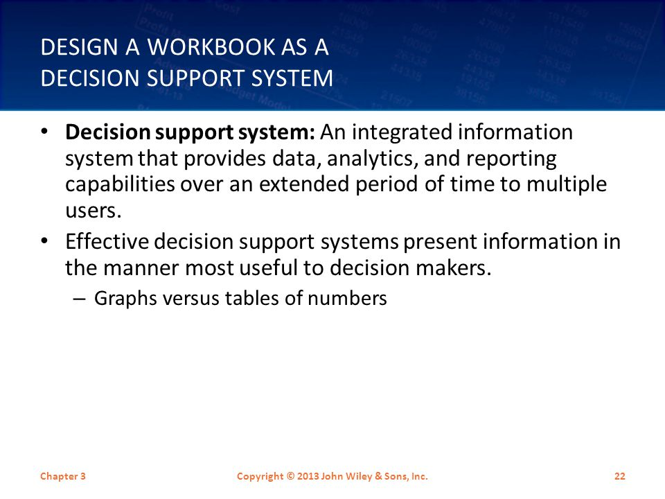 Design a Workbook as a Decision Support System