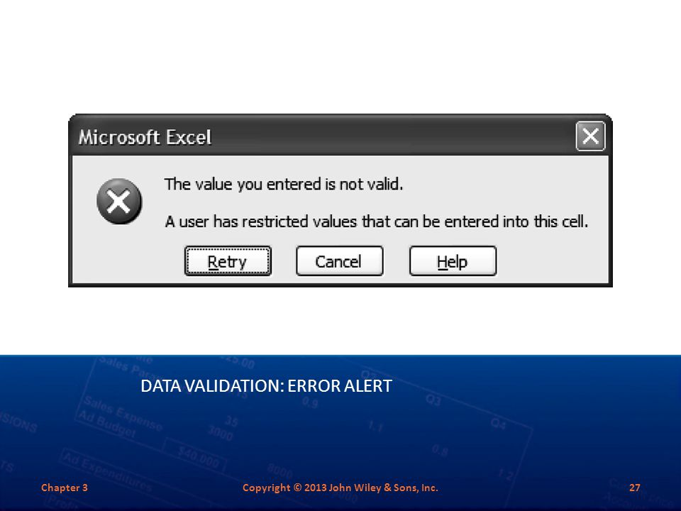 Data Validation: Error alert