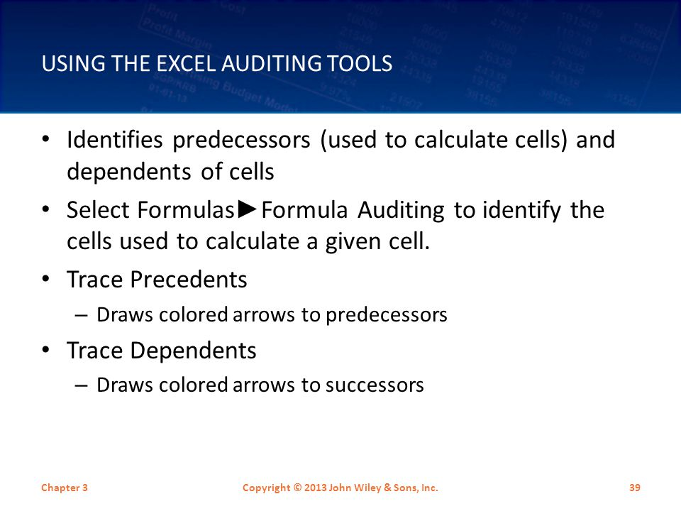 Using the Excel Auditing Tools