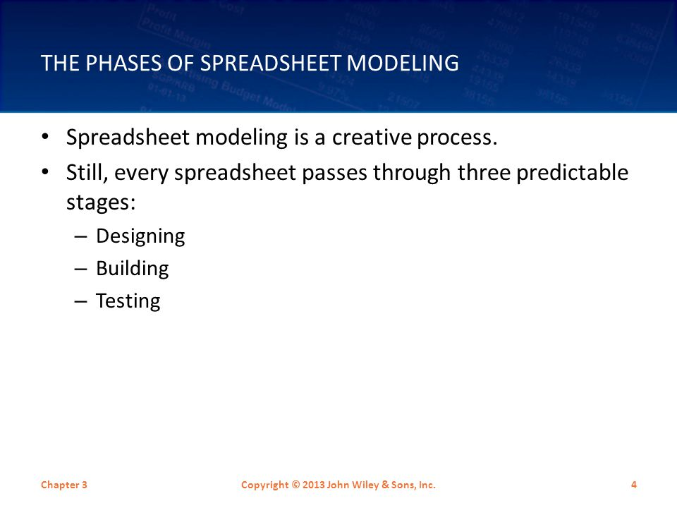 The Phases of Spreadsheet Modeling