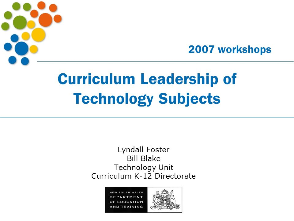 Curriculum Leadership of Technology Subjects