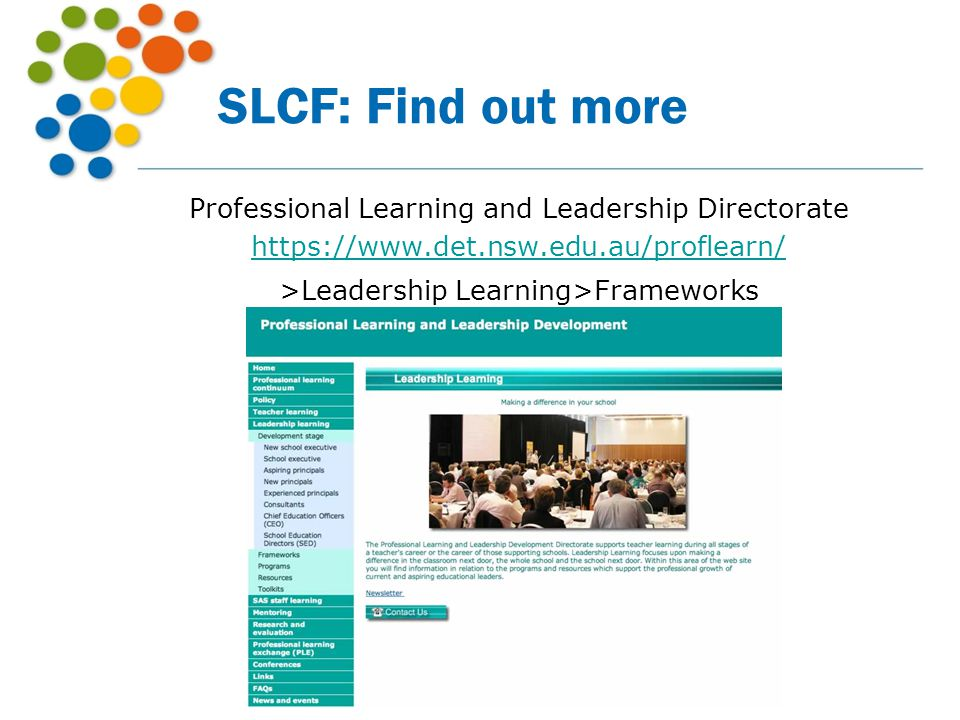 SLCF: Find out more Professional Learning and Leadership Directorate