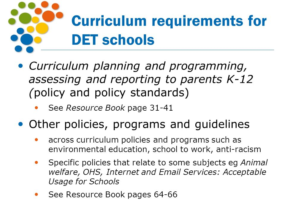 Curriculum requirements for DET schools