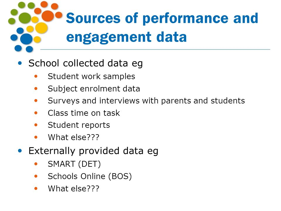 Sources of performance and engagement data