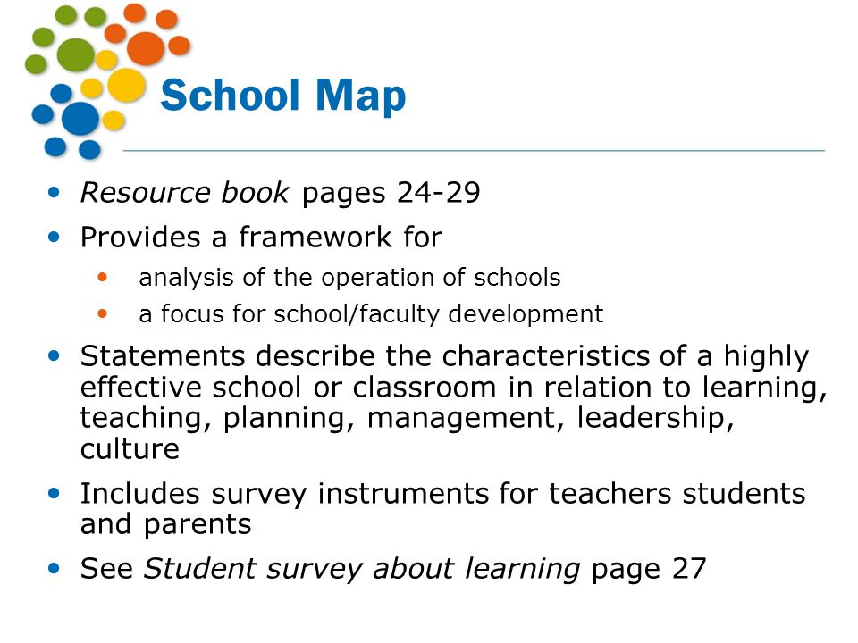 School Map Resource book pages 24-29 Provides a framework for