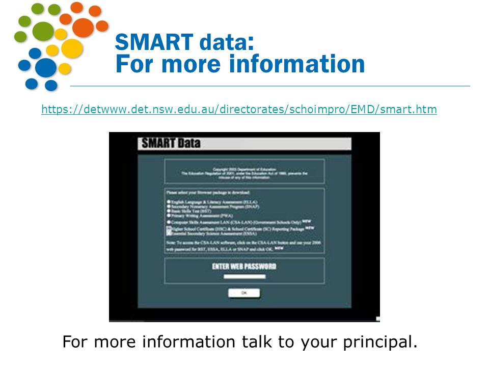 SMART data: For more information