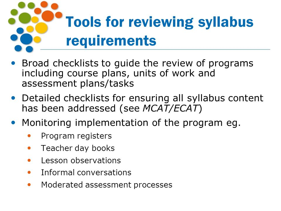 Tools for reviewing syllabus requirements