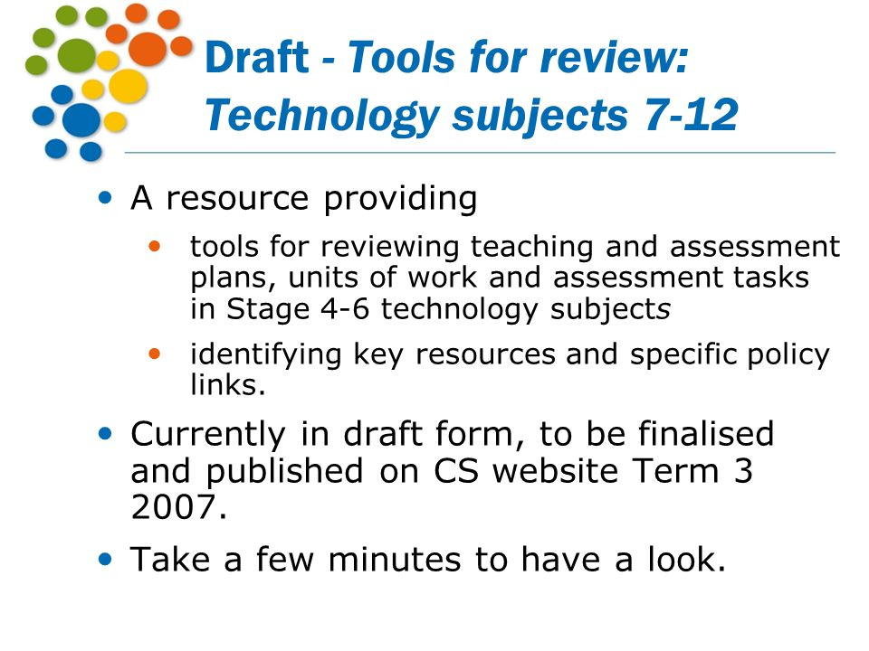 Draft - Tools for review: Technology subjects 7-12