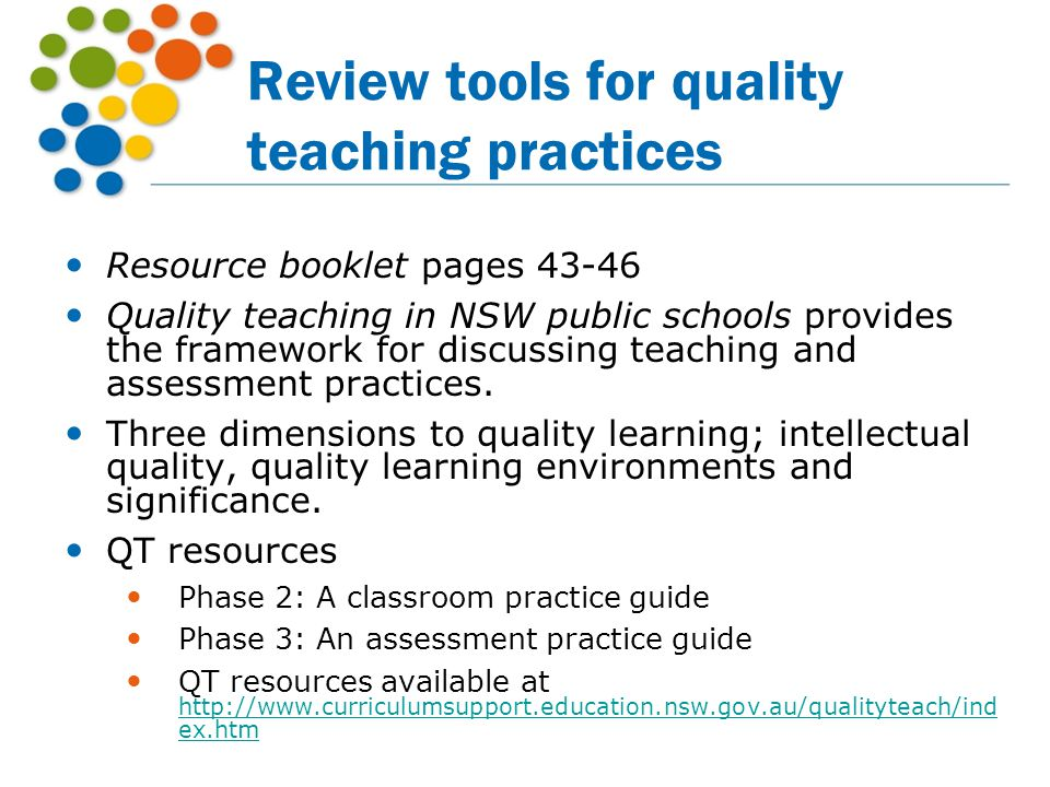 Review tools for quality teaching practices