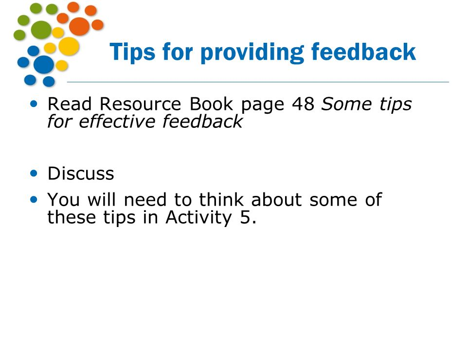Tips for providing feedback