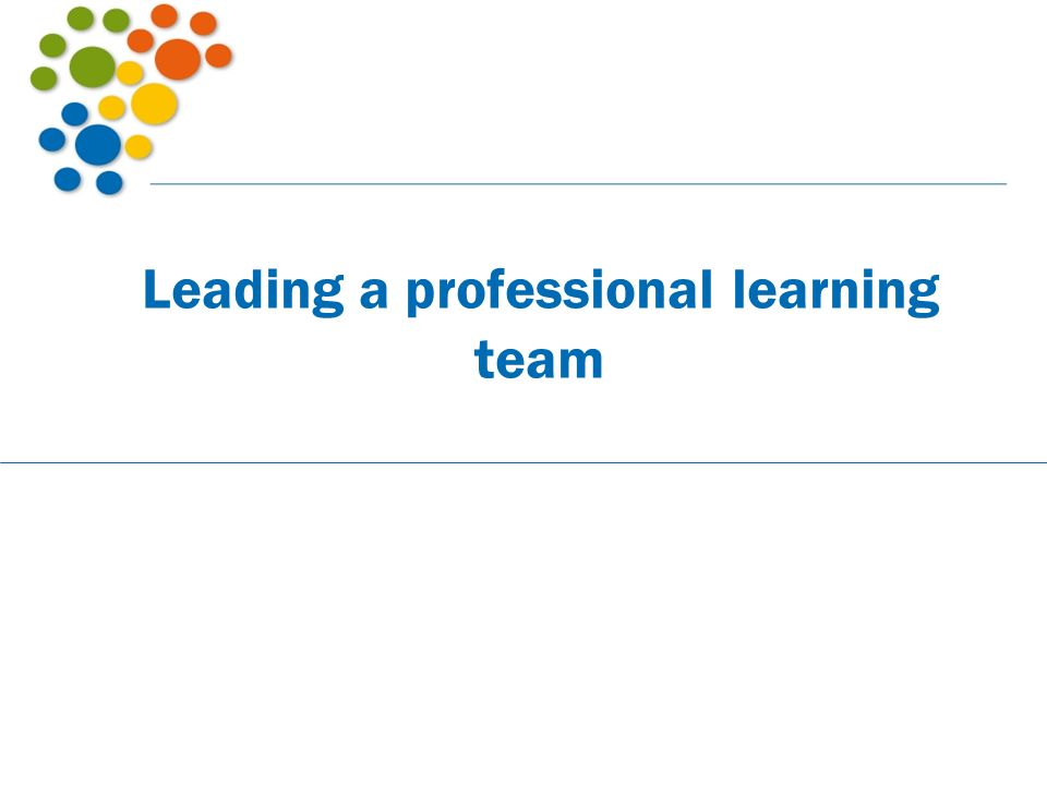 Leading a professional learning team