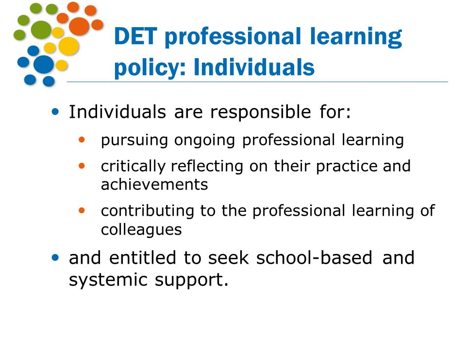 DET professional learning policy: Individuals