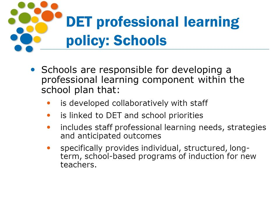 DET professional learning policy: Schools