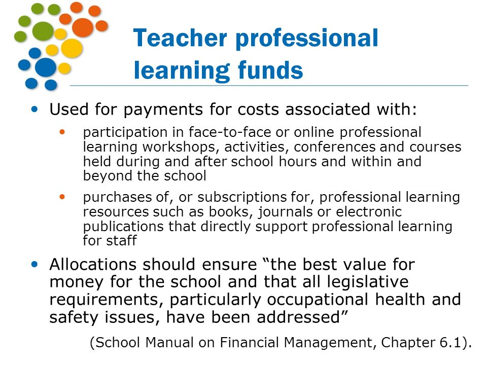 Teacher professional learning funds