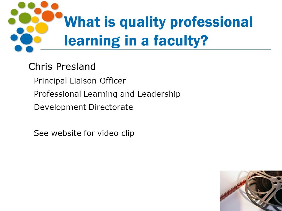 What is quality professional learning in a faculty