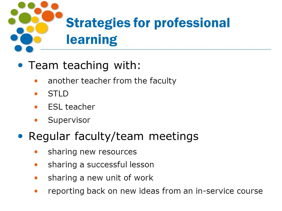 Strategies for professional learning
