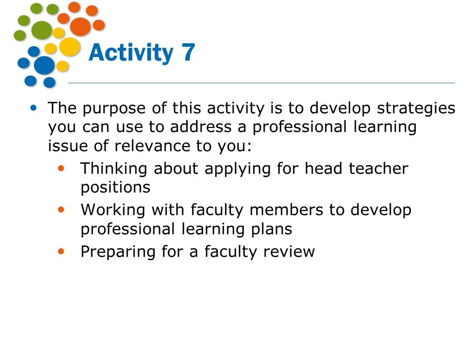 Activity 7 The purpose of this activity is to develop strategies you can use to address a professional learning issue of relevance to you: