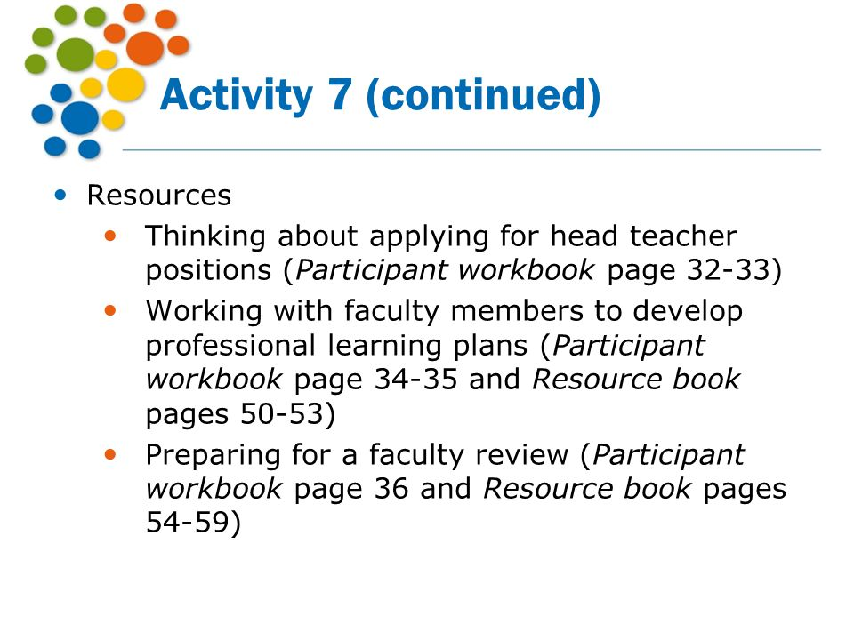 Activity 7 (continued) Resources