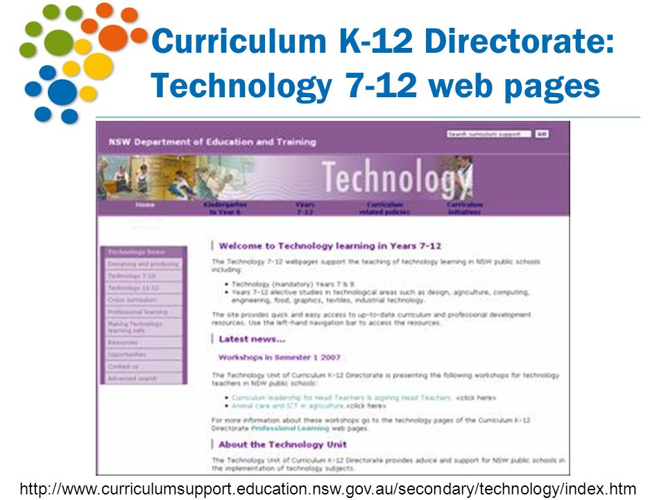 Curriculum K-12 Directorate: Technology 7-12 web pages