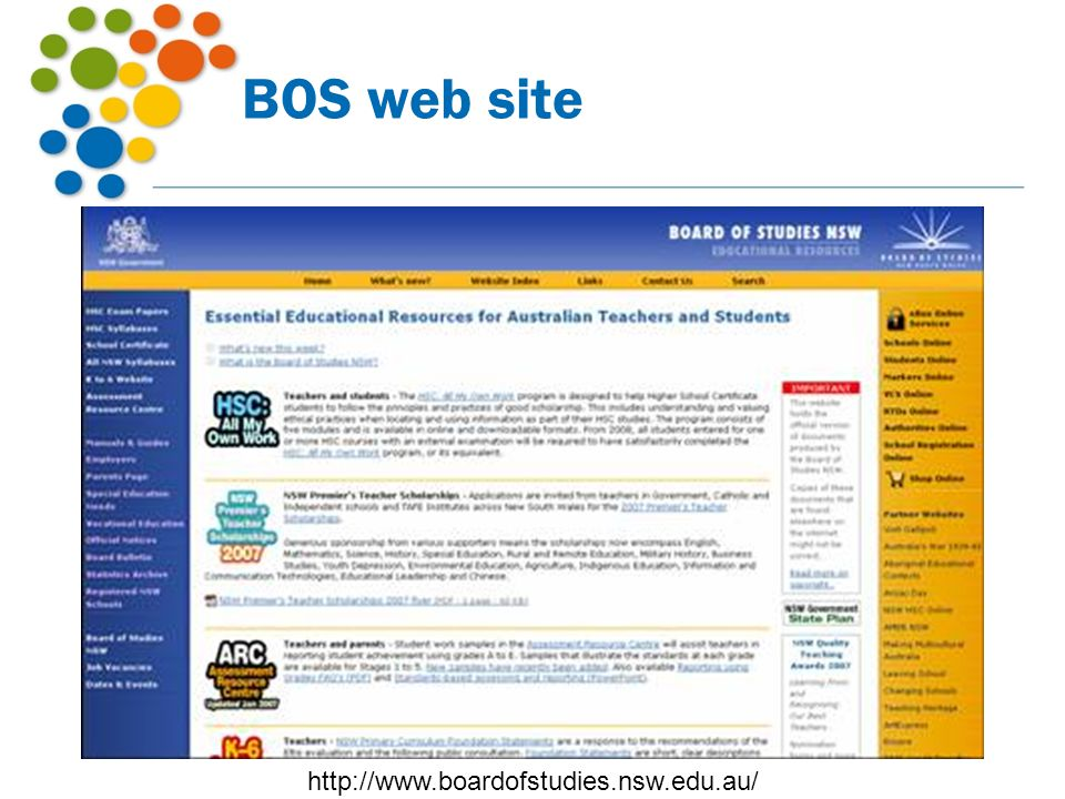 BOS web site http://www.boardofstudies.nsw.edu.au/