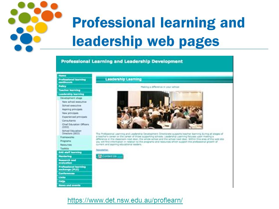 Professional learning and leadership web pages
