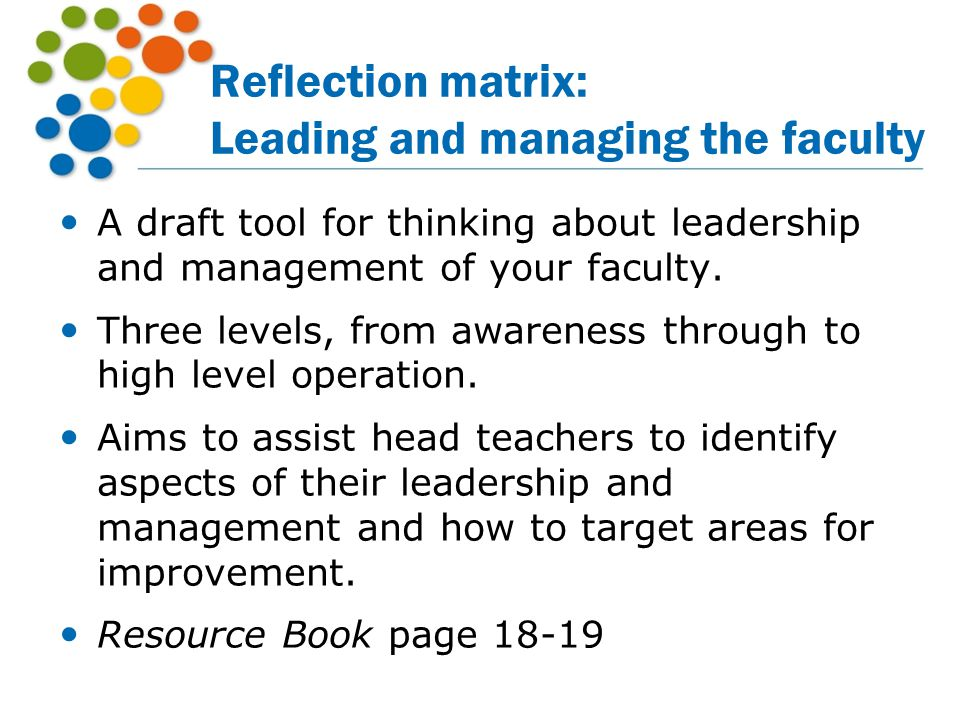 Reflection matrix: Leading and managing the faculty