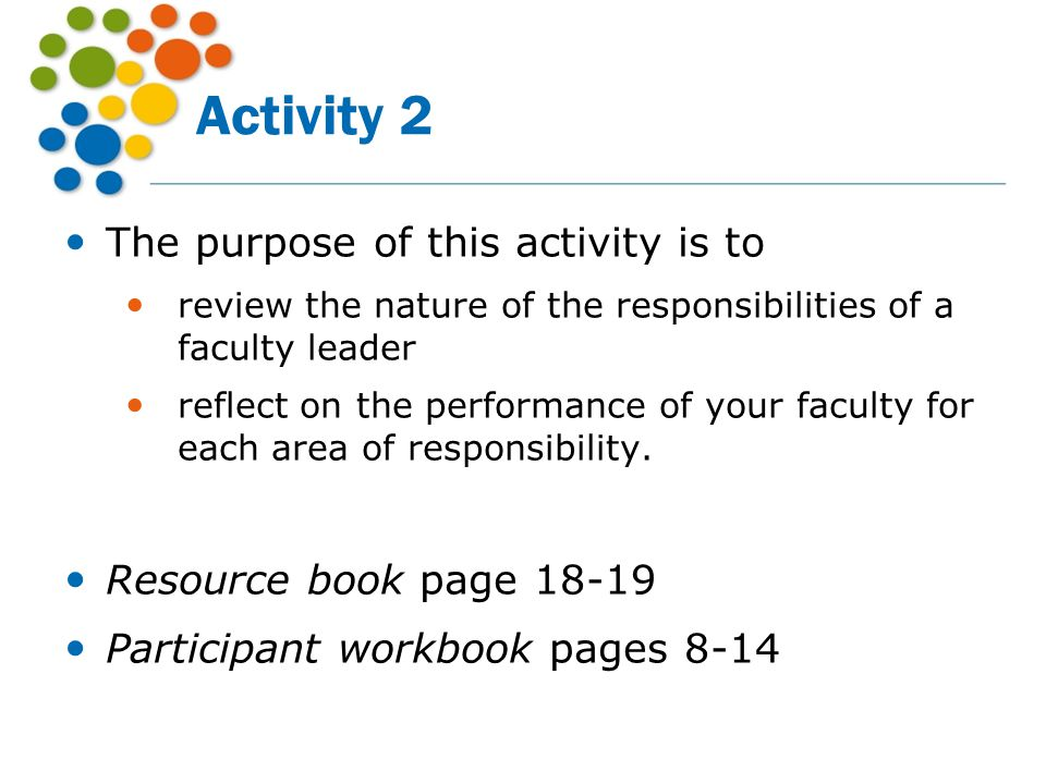 Activity 2 The purpose of this activity is to Resource book page 18-19