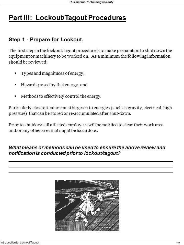 Part III: Lockout/Tagout Procedures