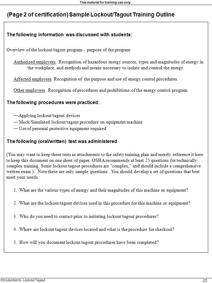 (Page 2 of certification) Sample Lockout/Tagout Training Outline