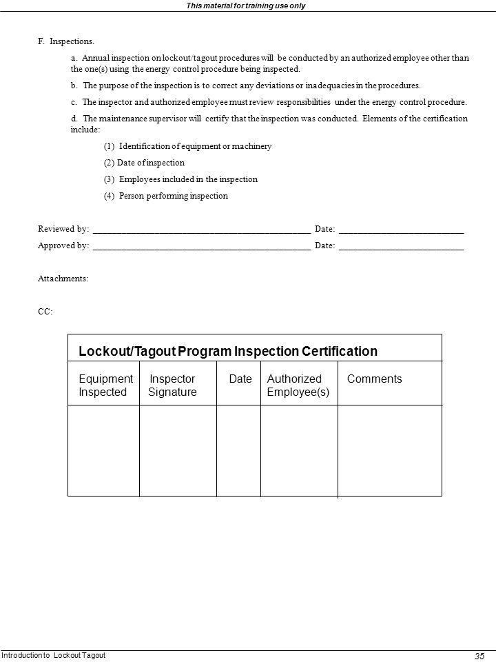 Lockout/Tagout Program Inspection Certification