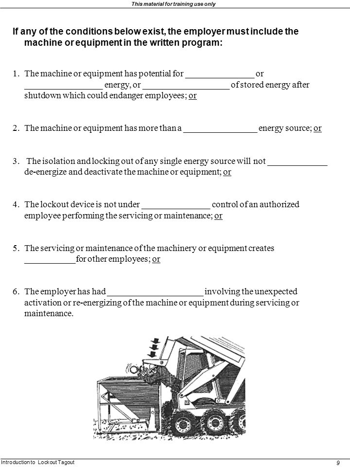 If any of the conditions below exist, the employer must include the machine or equipment in the written program: