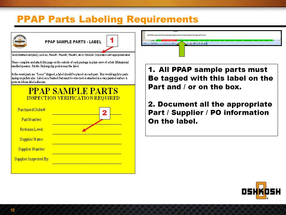 PPAP Parts Labeling Requirements